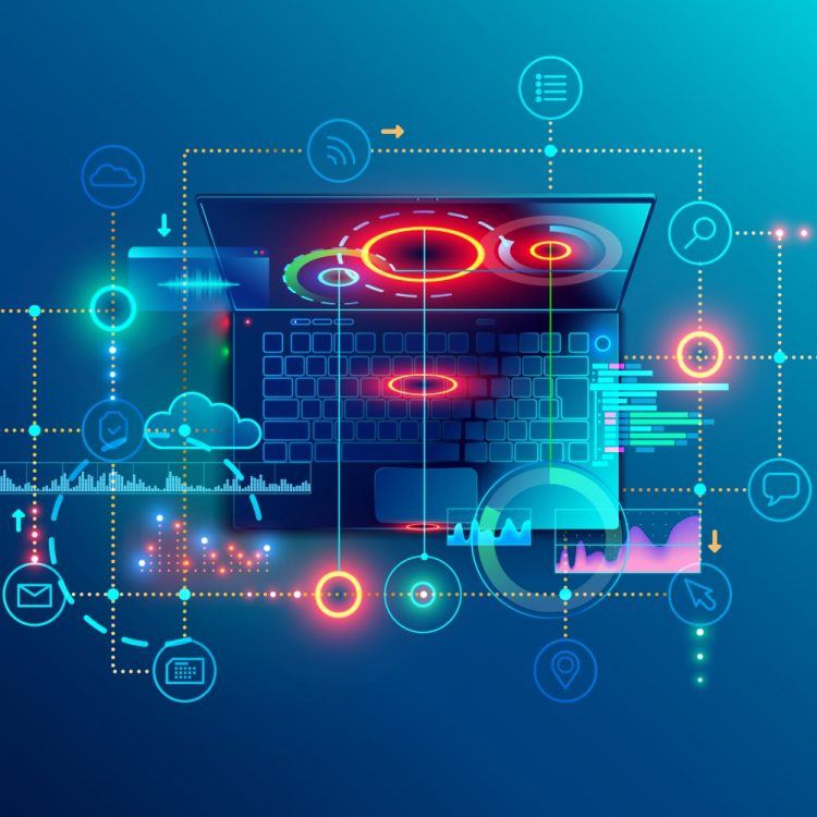 Programming or Software development abstract concept. Top view at screen laptop with business icons, programming language or fragments coding. Technology banner of Software developer company ; Shutterstock ID 1193397784; Customer_ID: AG13